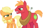 Young Applejack and Big McIntosh by SilverMapWolf