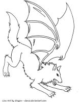 Dragon-Winged Wolf Line Art by DansuDragon