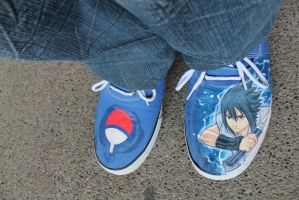 Sasuke Uchiha Painted on Blue Sneakers by Nick-Ian