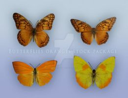 Butterflies Oranges Stock Package by Wesley-Souza
