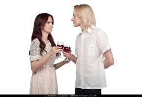 STOCK PNG - Romantic Couple Drinking Wine by LienSkullova