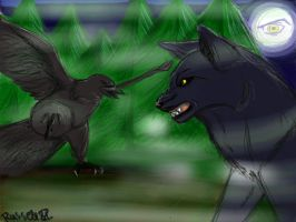 Wolf and Raven by Russell81