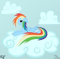 Request--Rainbow Dash chillin' by aruigus808