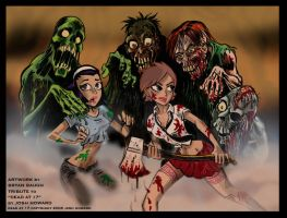 Nara and Hazy vs. Zombies by BryanBaugh