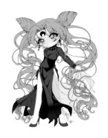 Black Lady Colored 02 Grayscale by InLoveWithYaoi