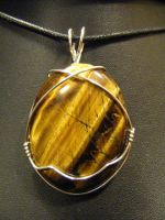 simple wrapped tirger eye pendant by BacktoEarthCreations