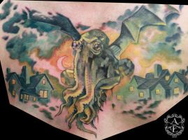 Cthulhu Chest Piece Tattoo done by Sean Ambrose by seanspoison