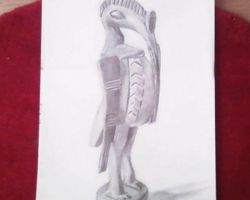 African statue pencil by draww