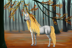 Unicorn in the Forest by Chakkaa