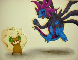 Whimsicott and Hydreigon by Raipeee