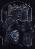 Ladyhawke commission on black paper by LucaStrati
