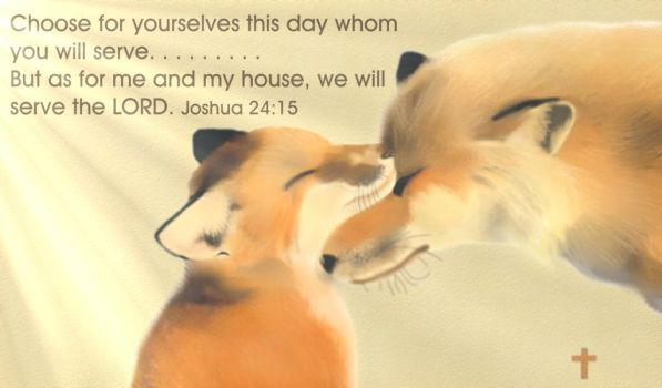 Foxes and bible verse by PhantomRose103