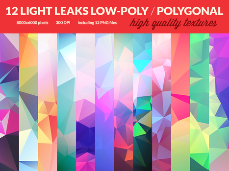 12 Light Leaks Low-Poly Polygonal Textures by RoundedHexagon