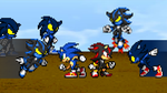 Art Trade - Sonic and Shadow vs Darkside Creatures by KingAsylus91