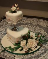 White rose wedding cake. by lenslady