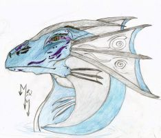 Water creature head in colour. by Megamrine