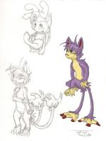 Aipom and Ambipom Sketches by Plaid-pichu