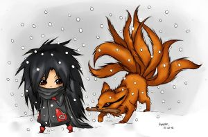 Madara and Kyuubi (collored) by XDeiDaX