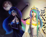 Princess Luna and princess Celestia. The sisters. by Victory-S