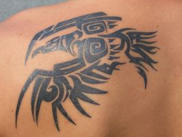 Raven Tribal Tattoo by Rubikscrow
