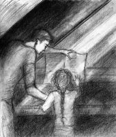 Piano Lesson - Edward and Nessie by LittleSeaSparrow