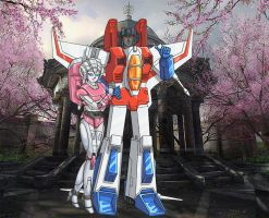 starscream and arcee by super-sideburn