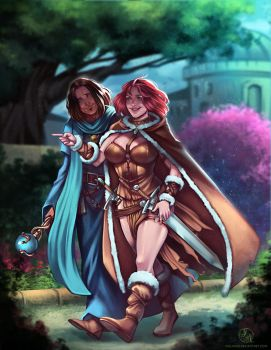 Tyra and Marthin - Fullbody colored commission by Ithilnaur
