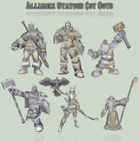 WoW Alliance Statues Cut Outs by atagene