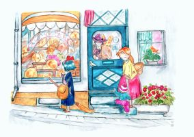 Kiki and Jiji outside the bakery by StarsDew