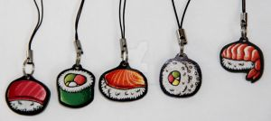 Sushi Phone Charms by JellySoupStudios