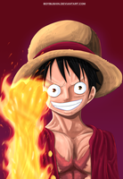 Monkey D. Luffy-Red Hawk by BoyBushin