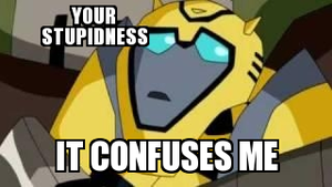Bumblebee is confused by your stupidness by Blurr19
