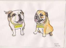 archie and ralphy dog caricature commission by j0epep