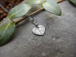 Tiny Heart Leaf - Oxidized Fine Silver Pendant by QuintessentialArts