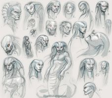 Snakemonster Face Sketches by Kipestshin