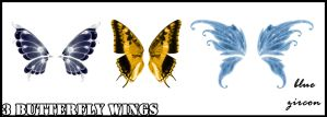 3 Butterfy Wings PNG by bluezircon-graphics