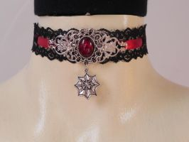Spider Choker by BlackWings-jewelry