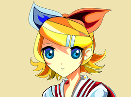 Rin Kagamine Practice with Tablet by InfinityYellowA