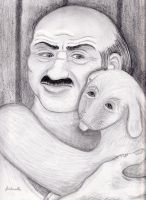 Carl and Hand Banana Pencil Portrait by Fisherella