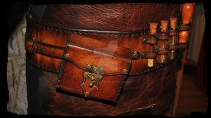 steampunk leather apron closeup by Lagueuse