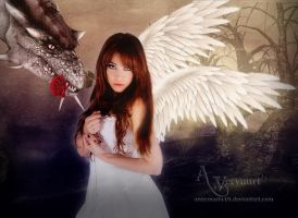 The Dragon and the Beauty Angel by annemaria48