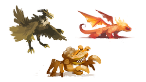 Some concept art ideas for desert monster by PlanetCentauri