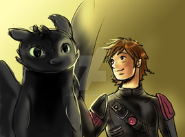 Toothless and Hiccup by mad-y