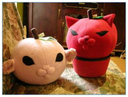 Peach and Apple Kitty plushes by restlesswillow