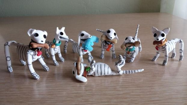 Day of the Dead skeleton dogs by claylindo