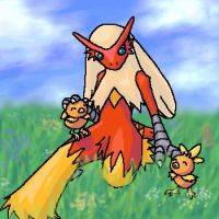 Blaziken and Torchic by DragonessBahamut