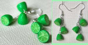 Lime Halves Dangle Earrings by Madizzo