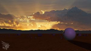 Sphere in Boxland: Sunset by calger459