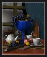 Vase with fruit by slepalex