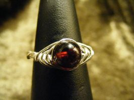 herring bone garnet ring in silver by BacktoEarthCreations